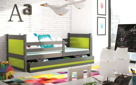 Dětská postel RICO 1 90x200 cm, grafitová/zelená Kokosová matrace Bez samolepky