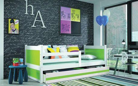 Dětská postel RICO 1 90x200 cm, bílá/zelená Pěnová matrace Formule
