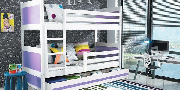 Patrová postel RICO 80x160 cm, bílá/fialová Kokosová matrace Formule Letadla