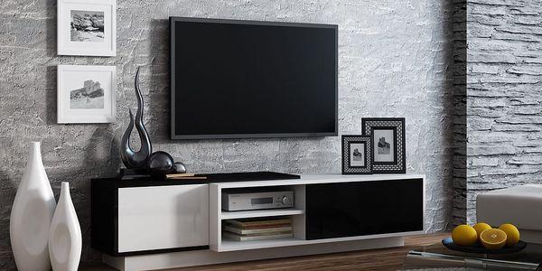 RTV stolek SIGMA 1, bílá matná a černý lesk / bílý a černý lesk