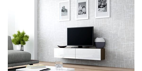 RTV stolek VIGO 140, latte matná / bílý lesk