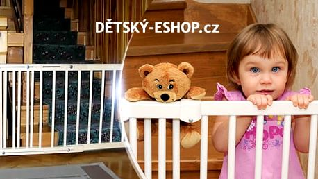 Zabezpečující dřevěná branka do dveří nebo na schody: výška 68 cm, regulace 72-122 cm