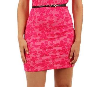 Šaty s květinovým vzorem a průhlednými rameny růžová