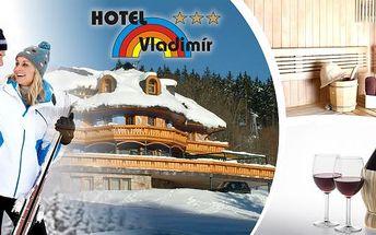 3denní lyžařský pobyt pro dva v Hotelu Vladimír přímo u dolní stanice kabinové lanovky. V ceně polopenze, skipas do SkiResortu Černá Hora - Pec (5 ski areálů), platí i na novou sjezdovku Hofmanky - nejrychlejší vyhřívaná lanovka v ČR. K tomu ještě džbánek
