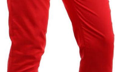 Bavlněné kalhoty s hnědým páskem červená