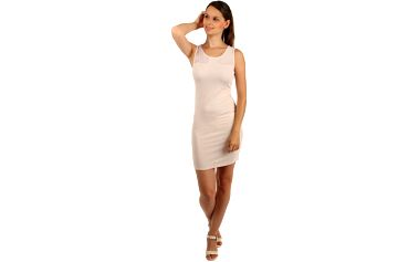 Pouzdrové šaty s průhlednými rameny béžová