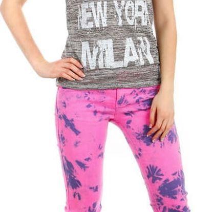 Moderní výrazné kalhoty - i pro plnoštíhlé tmavě růžová