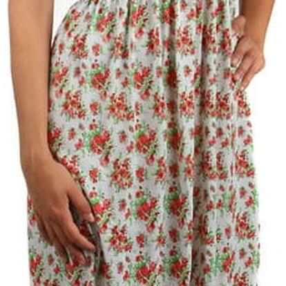 Letní květované šaty/sukně 2v1 červená