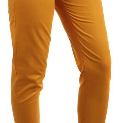 Dámské bavlněné kalhoty s páskem žlutá