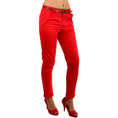 Dámské bavlněné kalhoty s páskem červená