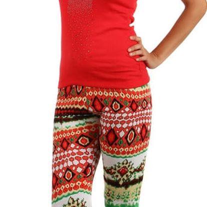 Dámské vzorované barevné legíny červená