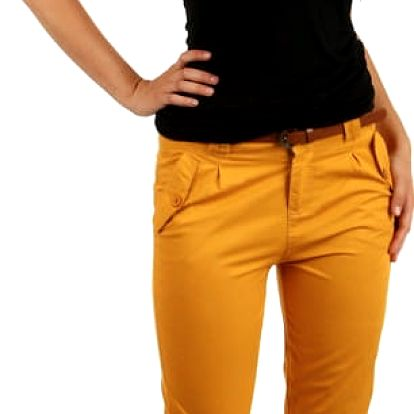 Bavlněné kalhoty s hnědým páskem žlutá