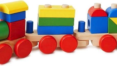 Dřevěný vláček se dvěma vagony pro děti na procvičení jemné motoriky