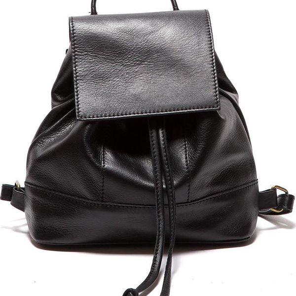 Černý kožený batoh Sofia Cardoni Fredo - doprava zdarma!