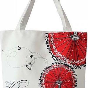 Velká dámská taška s rudými květinami