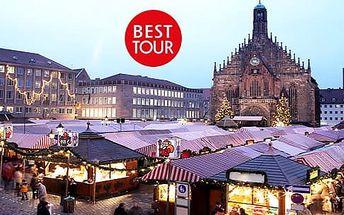 Adventní Norimberk, 1denní zájezd pro 1 osobu na vánoční trhy a nákupy z Plzně nebo Prahy