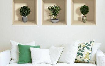 Sada 3 samolepek Ambiance s 3D efektem Ambiance Small Bushes