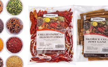 Balíčky vybraného koření pro dochucení pokrmů