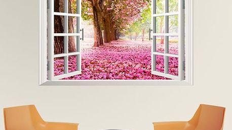 3D samolepka na zeď - Růžově rozkvetlá alej - poštovné zdarma