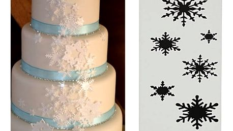 Šablona ke zdobení dortu - sněhové vločky