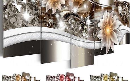 Obraz s motivem diamantů a květin - 5 ks