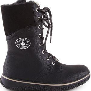 Rieker - Dámské zateplené zimní boty s ovčí vlnou, šněrováním a zipem šíře G Z4242-00 - černá- vel. EUR 37