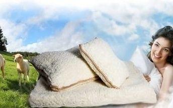 Hřejivý set s příměsí ovčího vlákna: 1x deka + 2x polštář, nebo 2x deka + 4x polštář