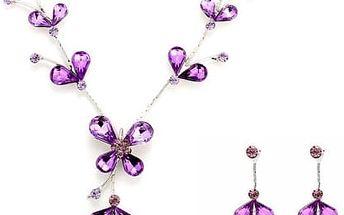 Sada fialového náhrdelníku s náušnicemi - poštovné zdarma
