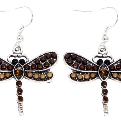 Fashion Icon Náušnice zlaté vážky s korálky a patinou