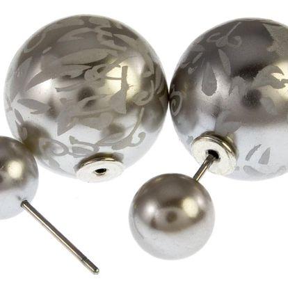 Fashion Icon Náušnice kuličky oboustranné s ornamenty