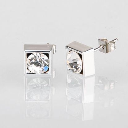 Fashion Icon Náušnice čtverec s krystalky 5 mm pecky krystal krystal s kamínkem hranaté NE0876-0312