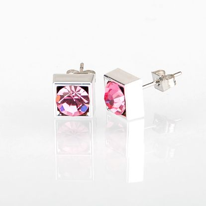 Fashion Icon Náušnice čtverec s krystalky 5 mm pecky krystal krystal s kamínkem hranaté NE0876-0306