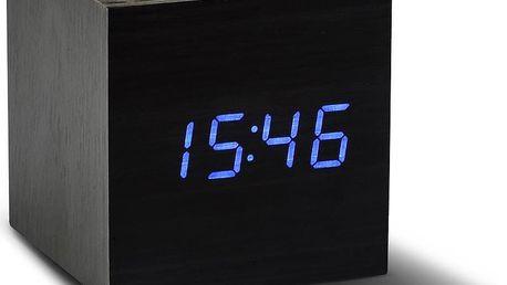 Modrý LED budík Gingko Cube Click Clock, černý