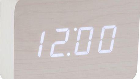 Bílý LED budík Brick Click Clock, bílý - doprava zdarma!