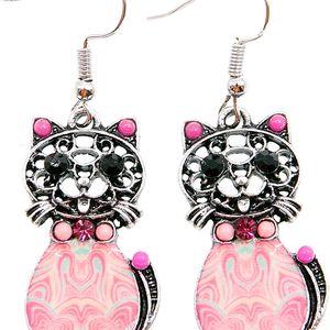 Fashion Icon Náušnice etno kočky s patinou a krystalky