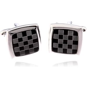 Fashion Icon Manžetové knoflíky čtverec šachovnice