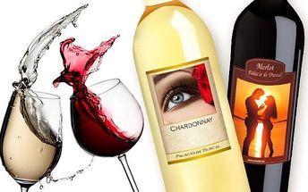 Originální láhev červeného nebo bílého vína s vlastní fotografií nebo textem
