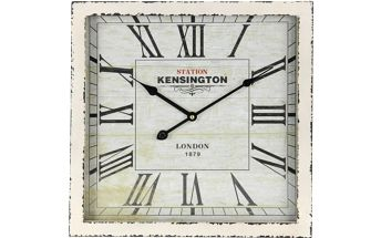 Dřevěné nástěnné hodiny 40 x 40 cm - BÍLÁ