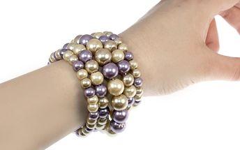 dámský náramek perly pět řad