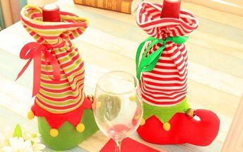 Vánoční obal na láhev vína - 2 varianty