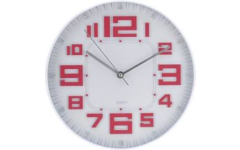 Nástěnné hodiny skleněné RELIÉF 30 cm - STARORŮŽOVÉ