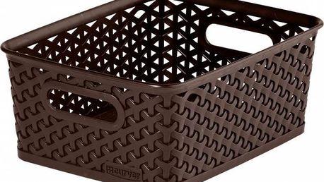 Polyratanový košík STYLE BOX S - tm. hnědá CURVER