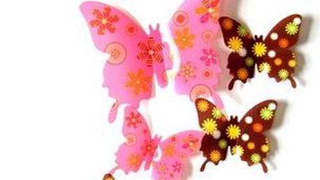Motýlí 3D samolepka na zeď - 12 ks
