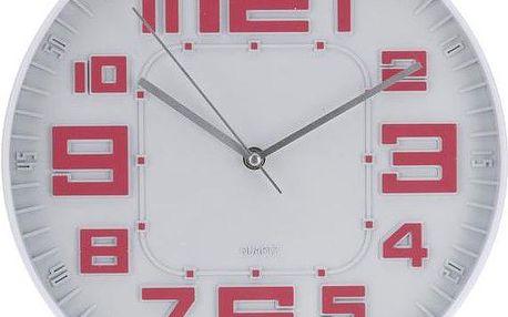 Koopman 35645 Nástěnné hodiny skleněné RELIÉF 30 cm - STARORŮŽOVÉ