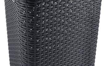 Černý prádelní koš s víkem v imitaci ratanu 43x33x57 cm