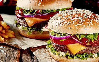 2x megaburger: domácí bulka, čerstvé maso, zelenina + 400g hranolky pro 2 osoby, Žižkov