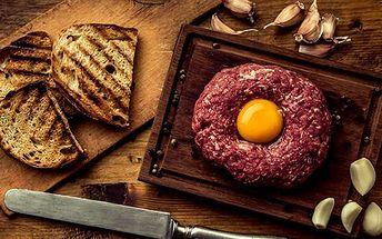 Tatarský biftek: 200, 300 nebo 500 g + až 20 topinek pro 2 až 4 osoby, Praha 3 -Žižkov