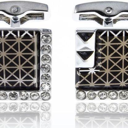 Fashion Icon Manžetové knoflíky masivní čtverec s krystalky a ornamentem