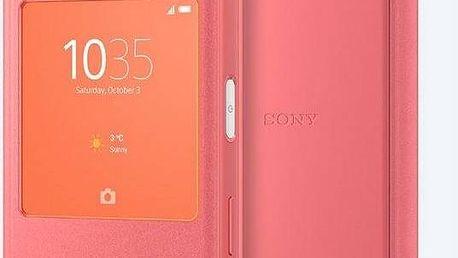 Pouzdro na mobil flipové Sony Smart Cover pro Xperia Z5 Compact (1296-8977) růžové