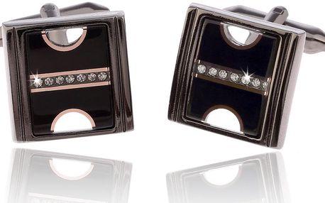 Fashion Icon Manžetové knoflíky společenské čtverec s krystalky